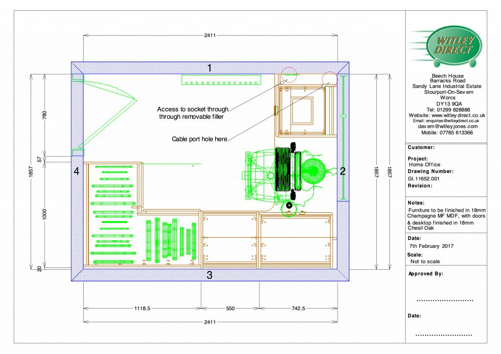 CAD 2D plan of office layout