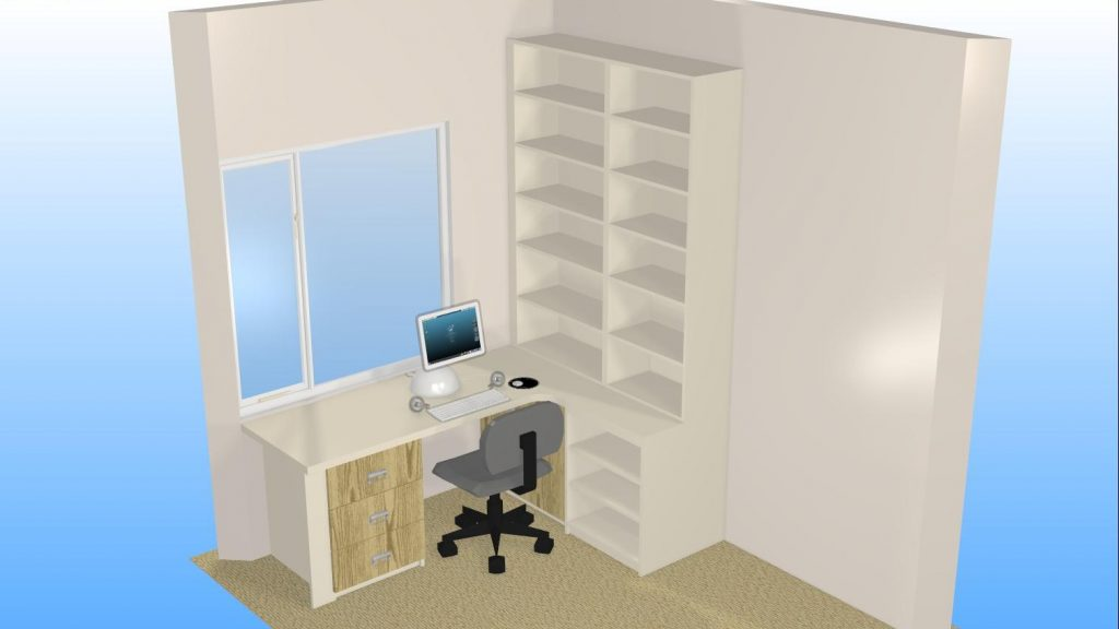 CAD 3D perspective of office furtniture